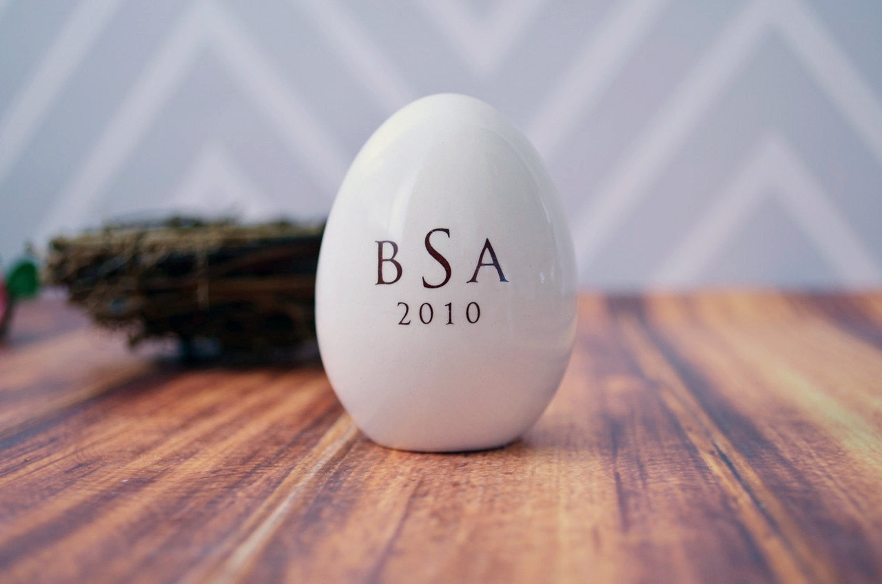 Personalized Ceramic Easter Egg with Monogram - Unique Easter Gift Idea