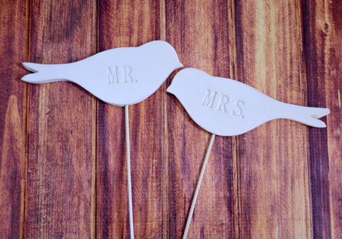 Mr. & Mrs. Bird Wedding Cake Toppers
