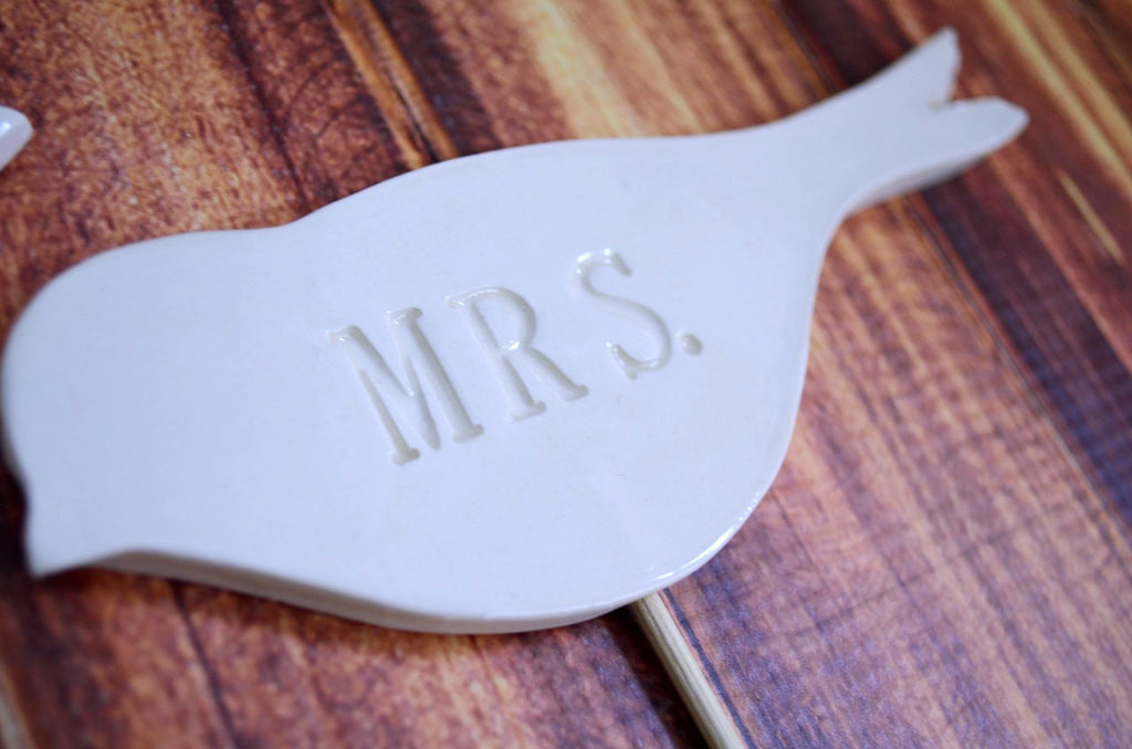 Mr. & Mrs. Bird Wedding Cake Toppers - SHIPS FAST - Large Size