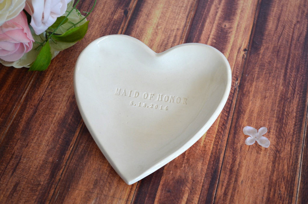 Large Personalized Heart Bowl - Maid of Honor Gift - Gift Boxed and Ready to Give