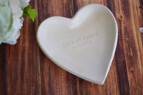 Maid of Honor Gift or Bridesmaid Gift - Personalized Heart Bowl - Gift Boxed and Ready to Give