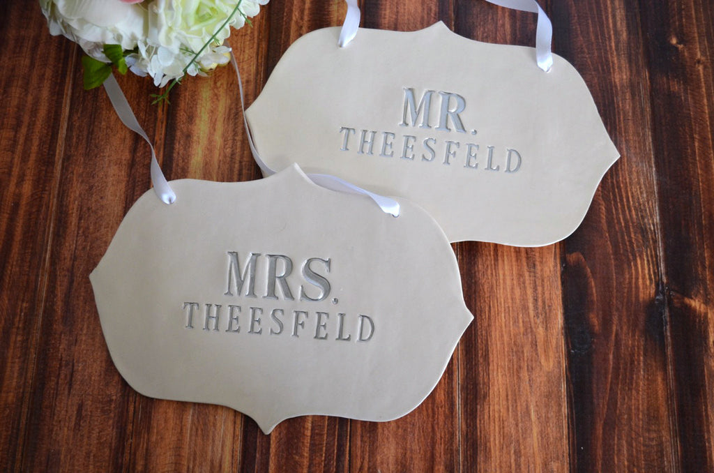 Personalized Large Mr. and Mrs. Wedding Sign Sets with Last Name - Photo Prop or Sign to Carry Down the Aisle