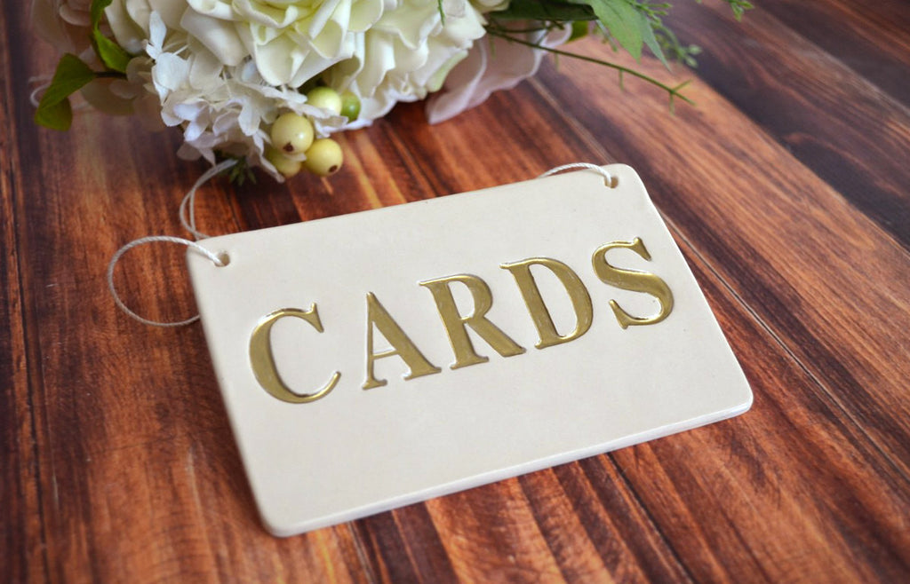 Gold Cards Sign for Wedding Card Box - SHIPS FAST