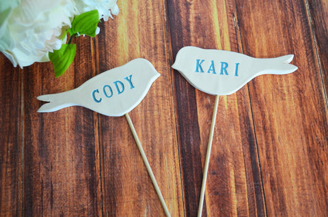 Personalized Name Bird Wedding Cake Toppers - Available in Blue and Other Colors