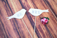 Mr. & Mrs. Bird Wedding Cake Toppers- available in different colors - small size