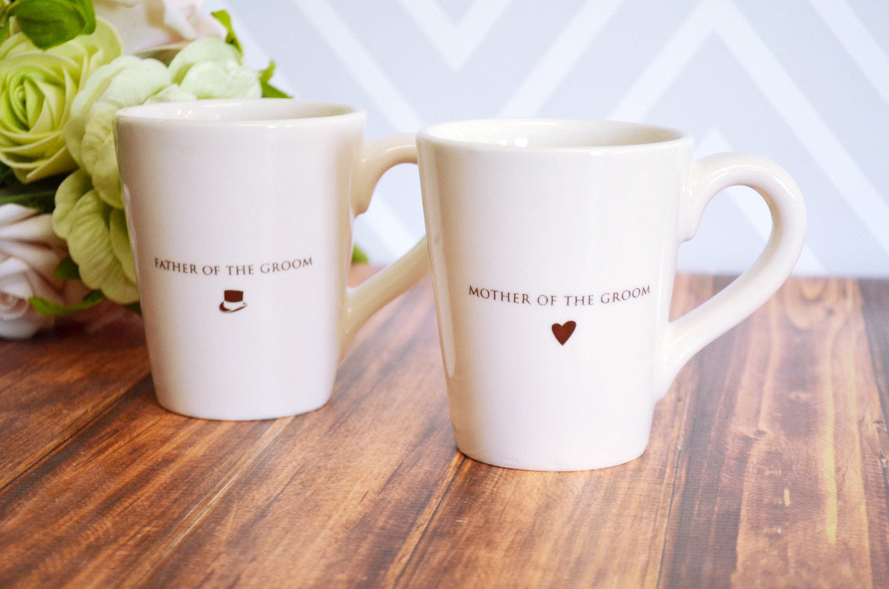 Parent Wedding Gift - Set of Coffee Mugs for Mother and Father of the