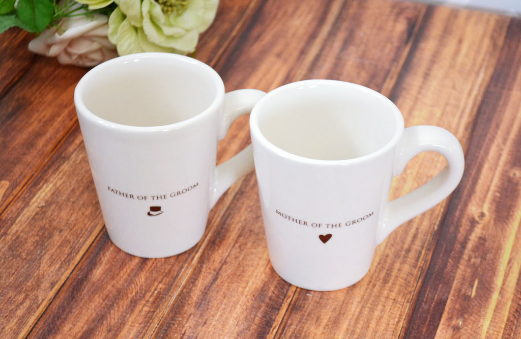Parent Wedding Gift - Set of Coffee Mugs for Mother and Father of the Groom
