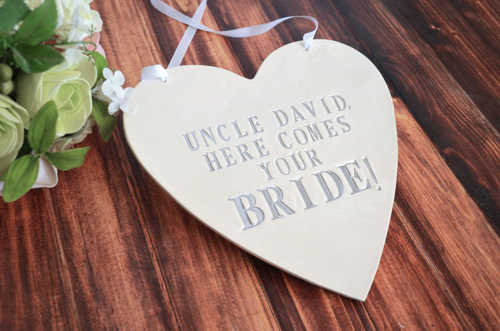 Personalized Heart Wedding Sign - Here Comes Your Bride - Photo Prop or Sign to Carry Down the Aisle