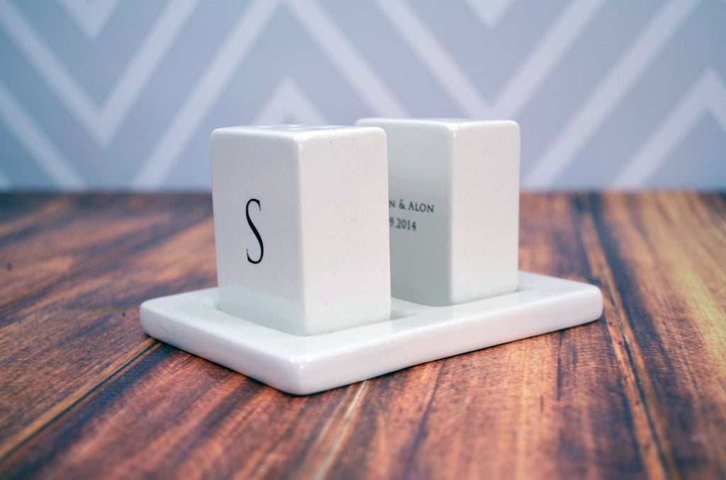 Personalized Salt and Pepper Shakers - Unique Engagement, Bridal or House Warming Gift - Gift Boxed and Ready to GIve