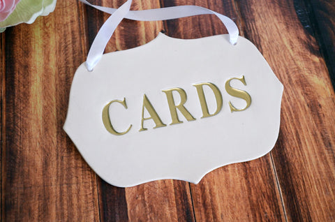 Gold Cards Sign for Wedding Card Box