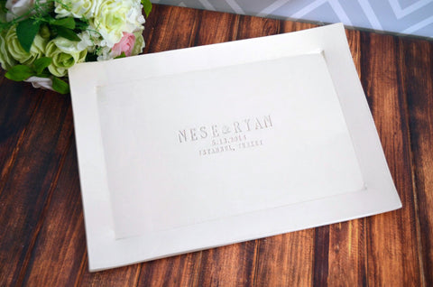 Large Rectangular Wedding Signature Guestbook Platter or Wedding Gift with Names and Wedding Location - Gift boxed