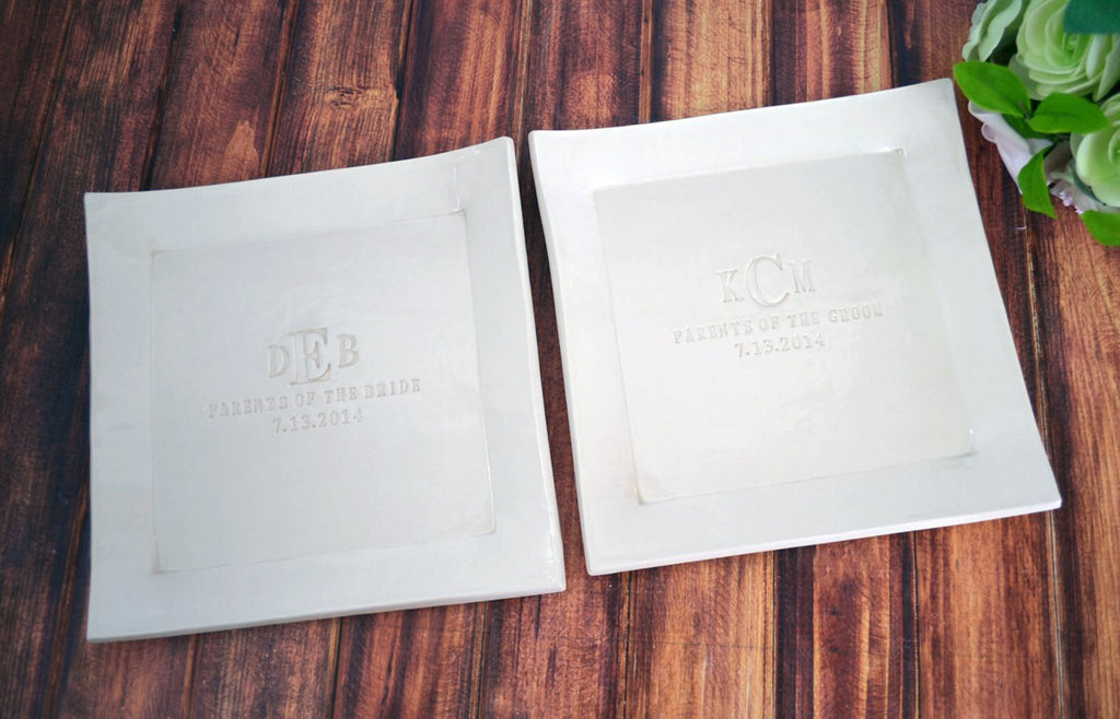 Set of Personalized Platters - Parents of the Bride and Parents of the Groom Gifts