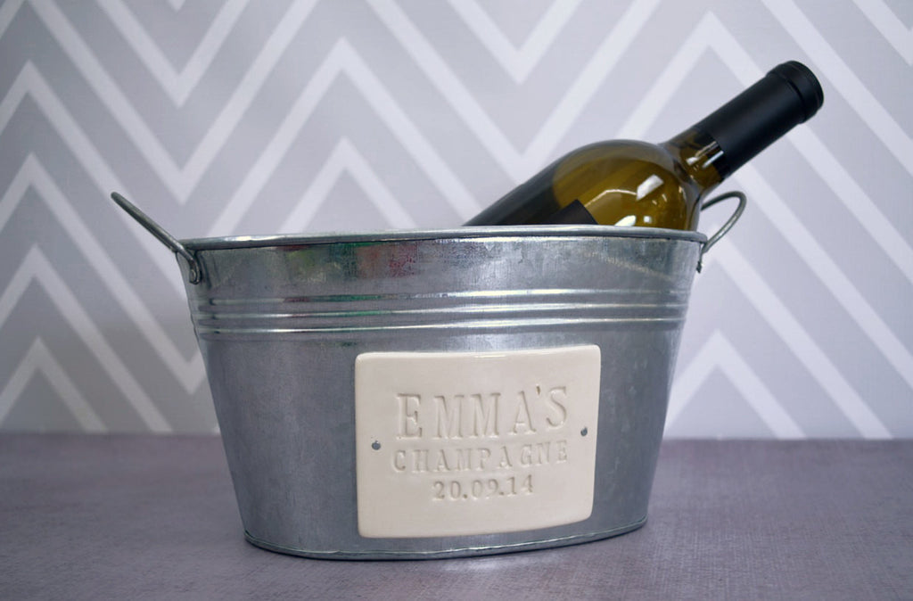 Personalized Birthday Gift or House Warming Gift  - Champagne Bucket with First Name and Date