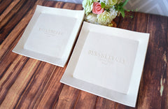 Set of Personalized Square Platters - Unique Parent Wedding Gift - Gift boxed