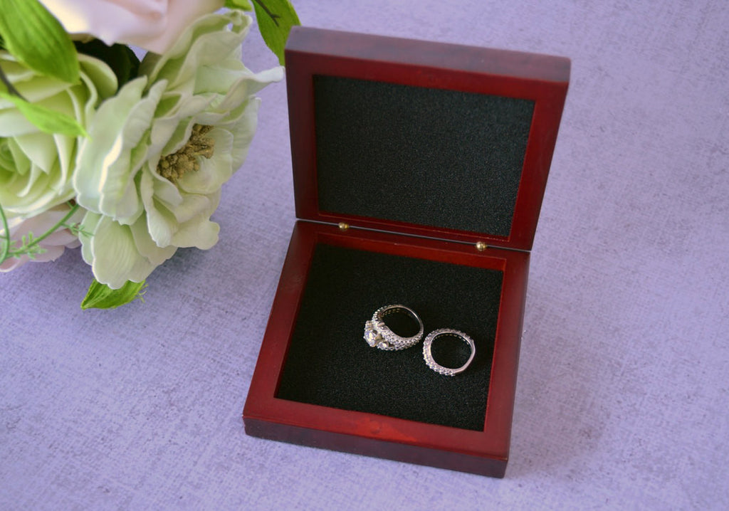 Personalized Ring Bearer Box with Rosewood Finish - Gift Boxed & Ready to Give