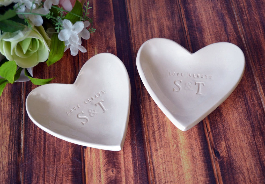 Parent Wedding Gift - Personalized with Initals - Love Always Heart Bowls