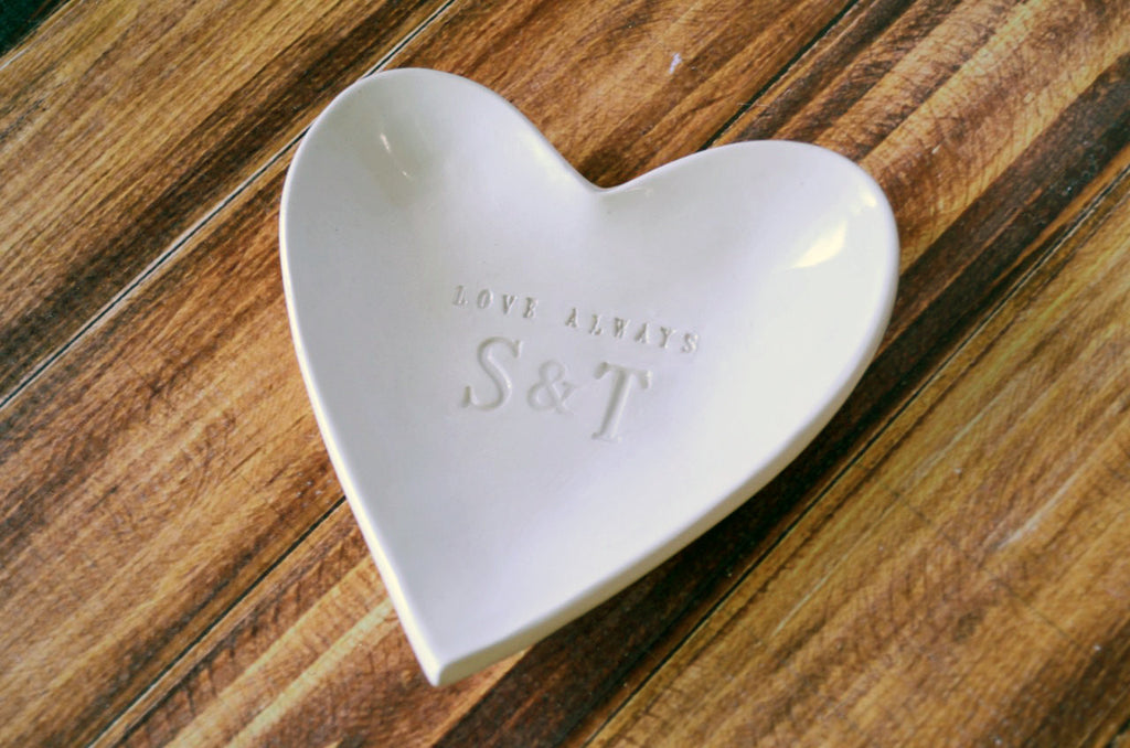 Mother of the Bride or Groom - Personalized with Initials - Love Always Heart Bowls - Gift Boxed