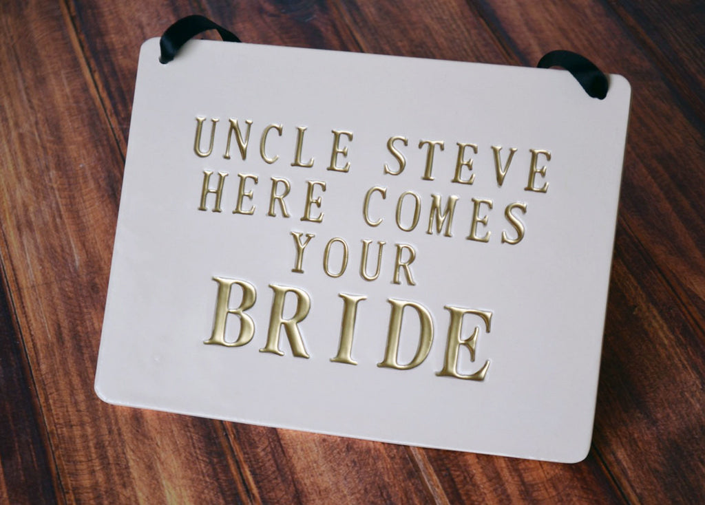 Personalized rectangular Here Comes The Bride Wedding Sign - to carry down the aisle and use as photo prop