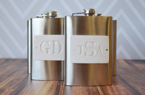 Groomsmen Gift - Set of 4 Personalized 8oz Flasks