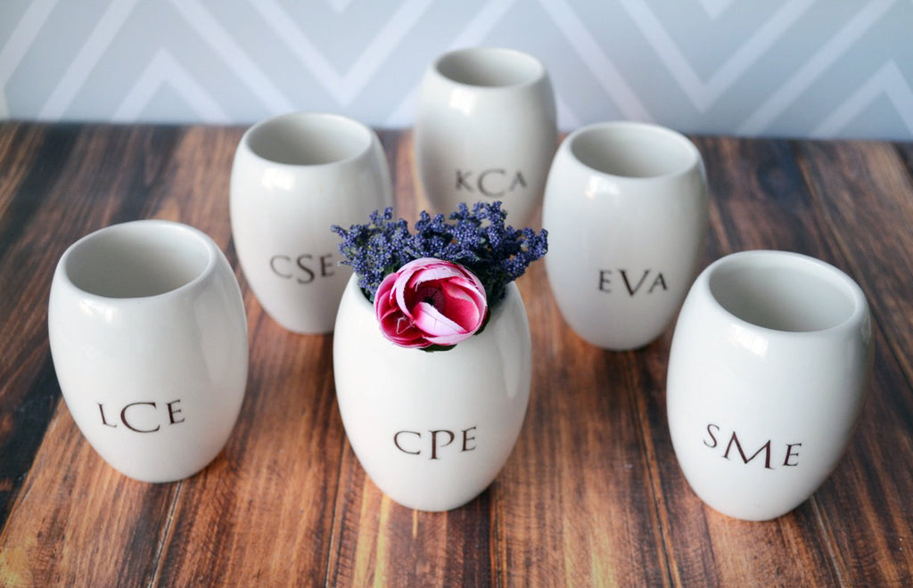 Set of 6 Bridesmaids Gifts - Monogrammed Vase - Gift Boxed and Ready to Give