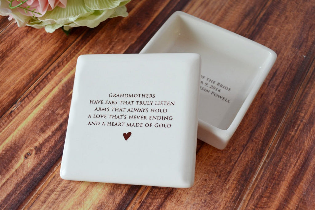 Unique Grandmother Gift - Square Keepsake Box - Add Custom Text - With Gift Box
