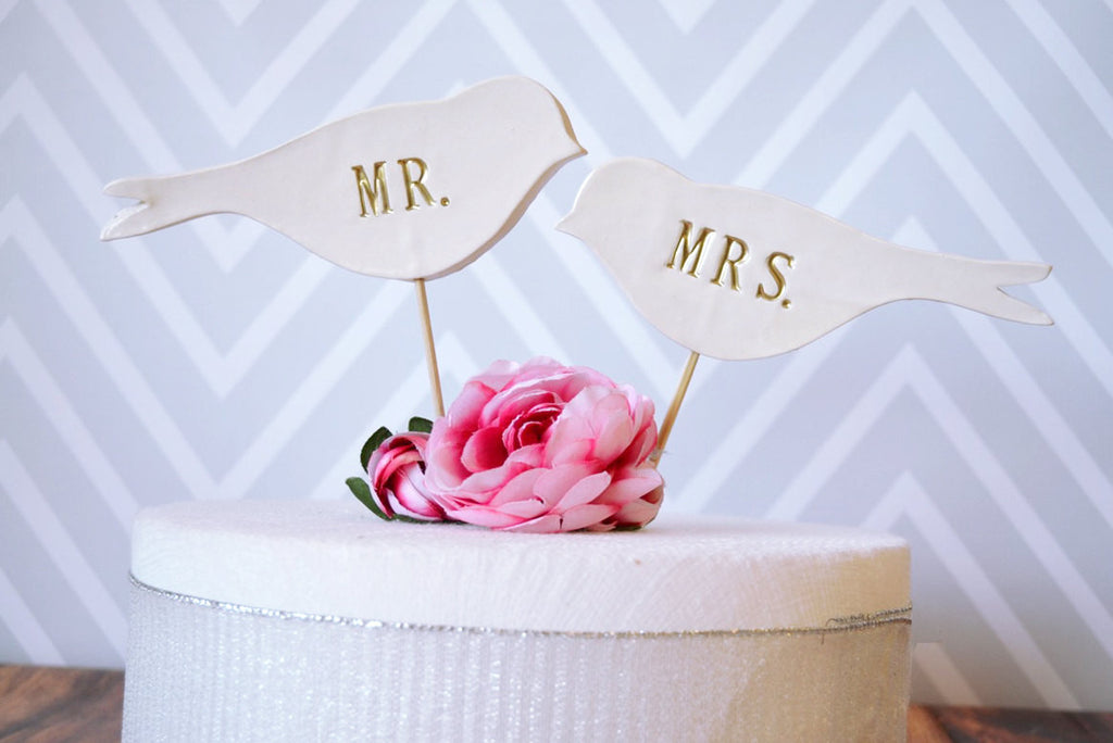 Mr. & Mrs. Bird Wedding Cake Toppers in Gold - SHIPS FAST - Large Size