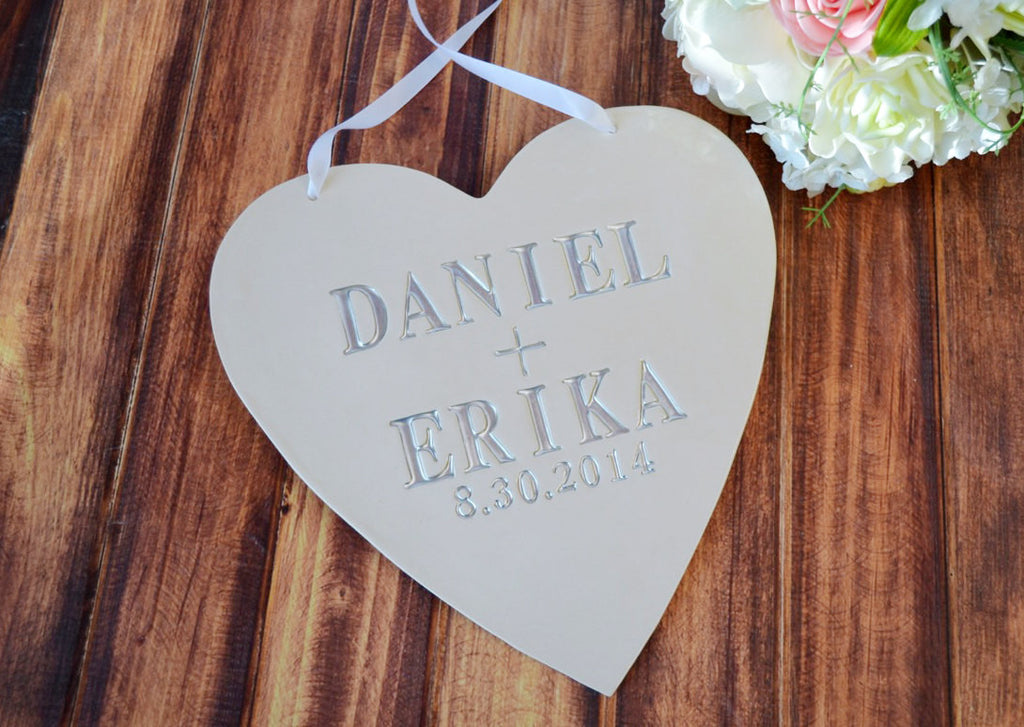 Personalized Heart Wedding Sign With Names and Date - Photo Prop or Sign to Carry Down the Aisle