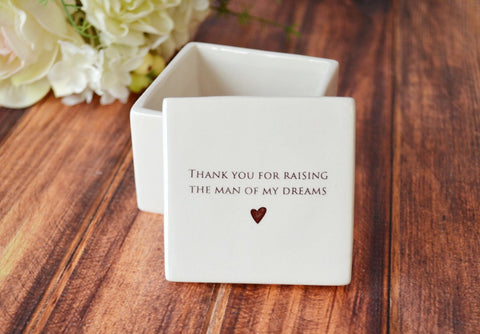 Unique Mother of the Groom Gift - Deep Square Keepsake Box - With Gift Box