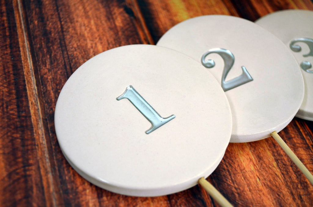 Wedding Table Numbers in Silver
