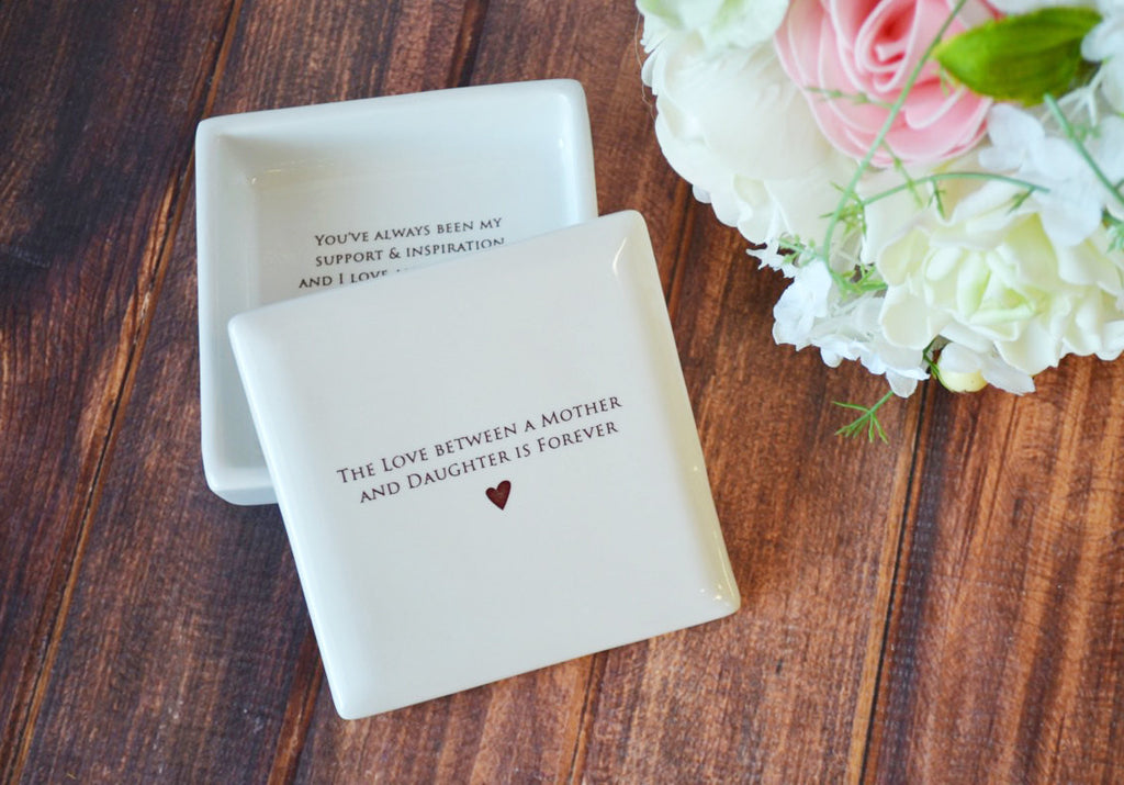 The Love Between a Mother and Daughter is Forever - Square Keepsake Box With Custom Text