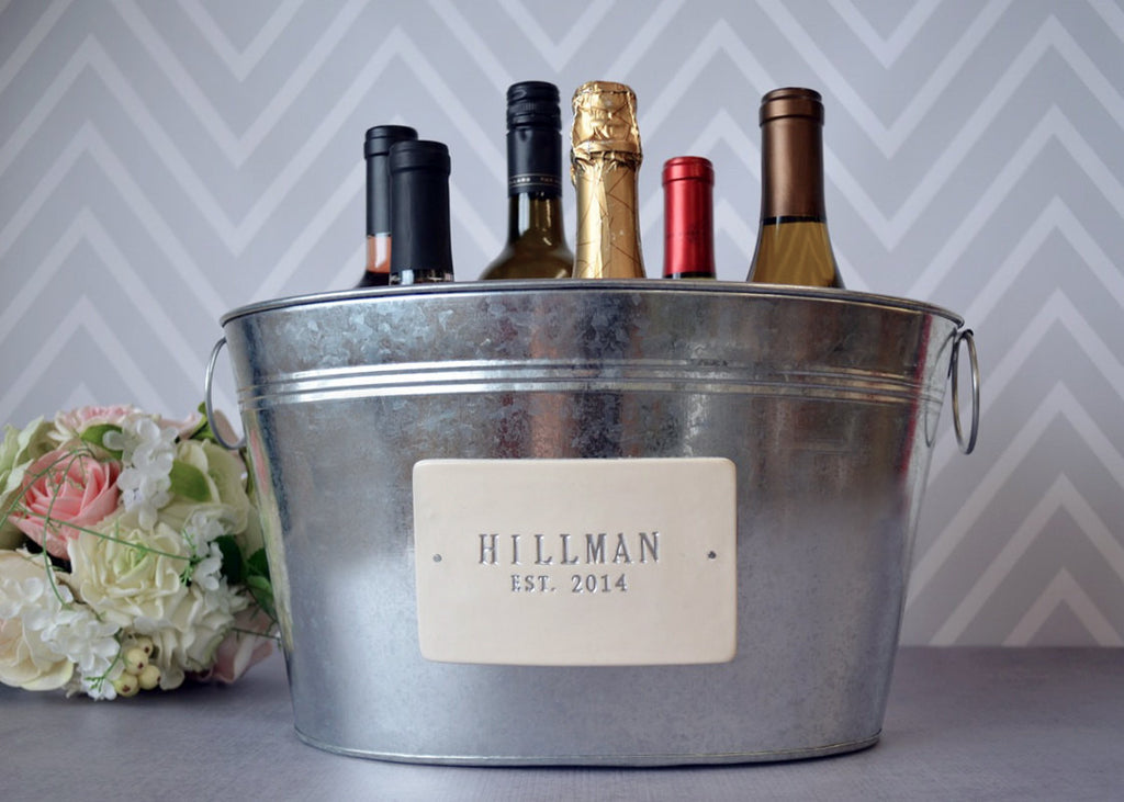 Personalized Wedding Gift with Last Name and Date in Silver - Large Champagne Tub