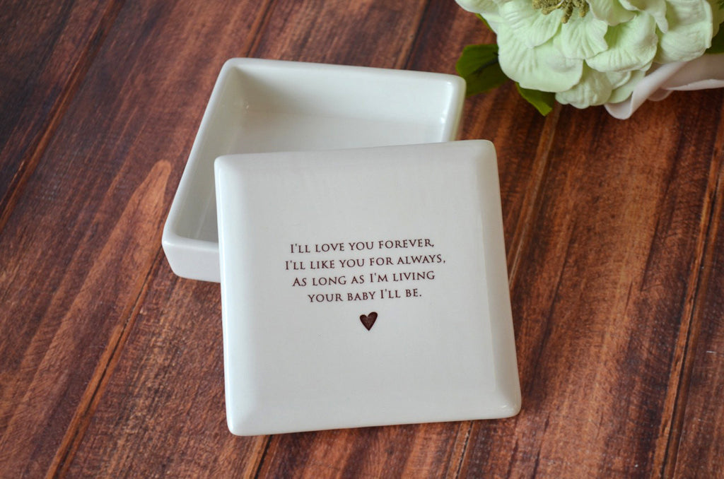 Unique Mother of the Bride Gift - Square Keepsake Box - As Long as I'm Living Your Baby I'll Be - With Gift Box