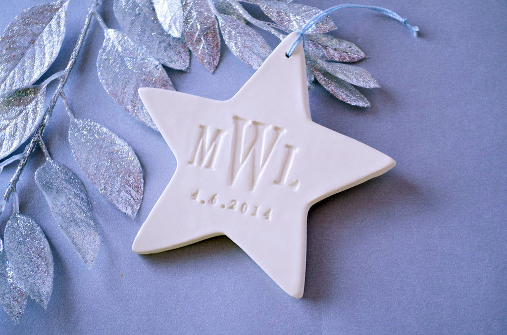 Monogramed Star First Christmas Ornament, Gift Boxed and Ready to Give