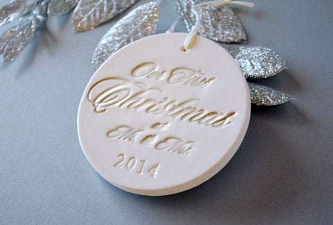 Family of 4 Customized Christmas Ornaments - in Gold, Gift boxed and Ready To Give