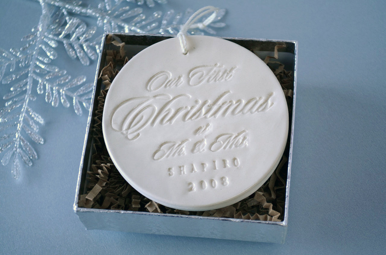 Personalized Our First Christmas as Mr. & Mrs. Ornament 2016, Gift Box