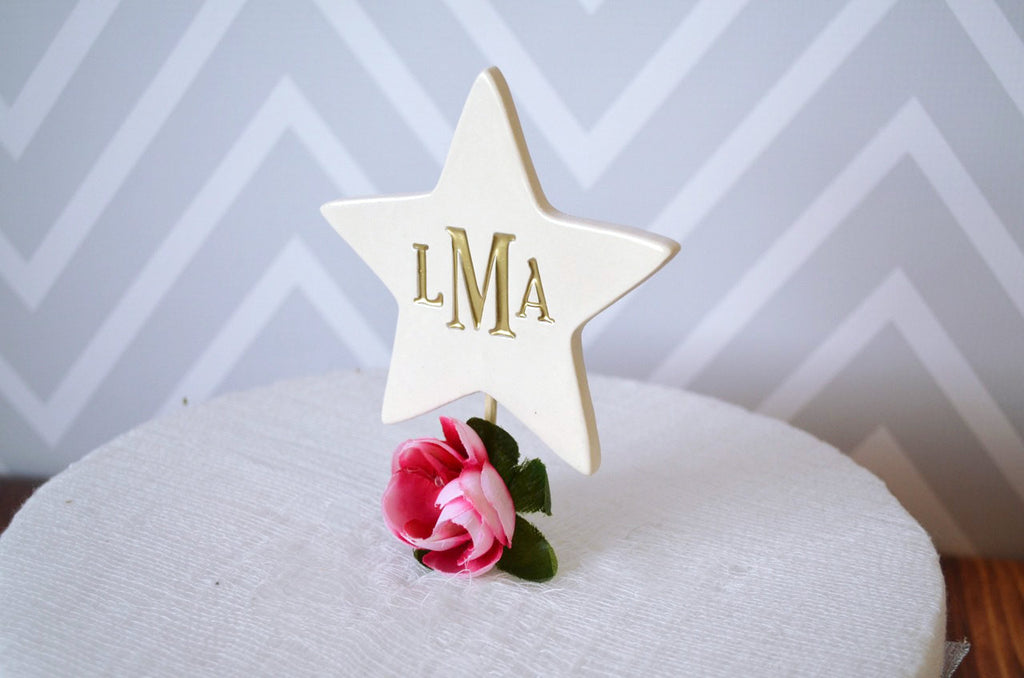 PERSONALIZED Ceramic Star Wedding Cake Topper - Avaialable in Diifferent Colors