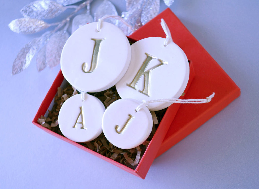 Family of 4 Customized Christmas Ornaments - SHIPS FAST - in Gold, Gift boxed and Ready To Give