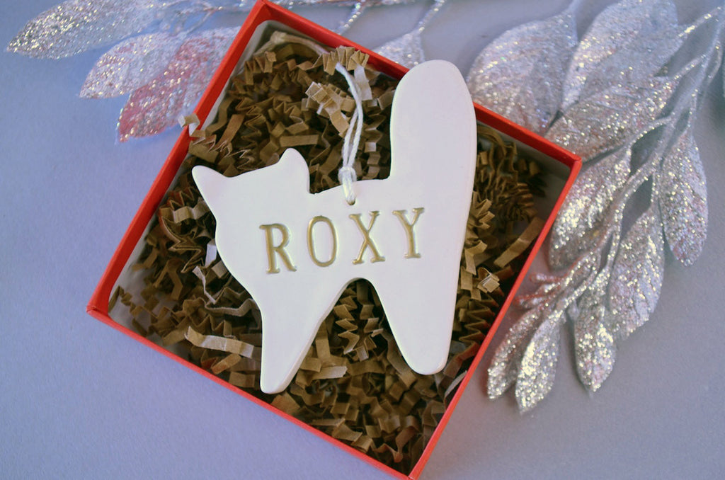 Personalized Cat Christmas Ornament with Name in Gold - Gift Boxed
