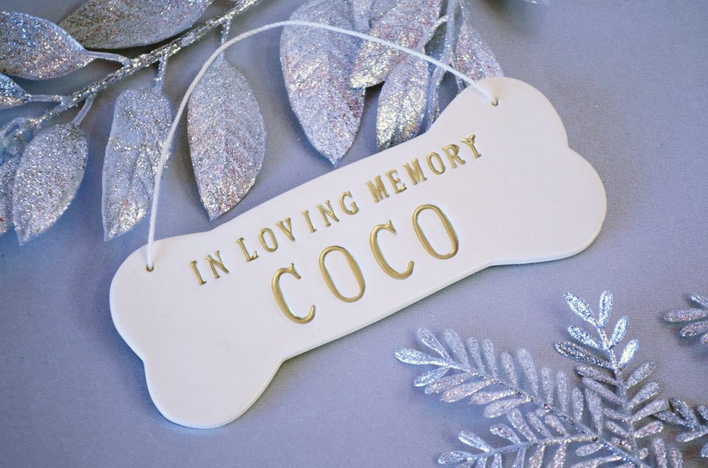 In Loving Memory - Large Personalized Dog Christmas Ornament with Name in Gold - Gift Packaged