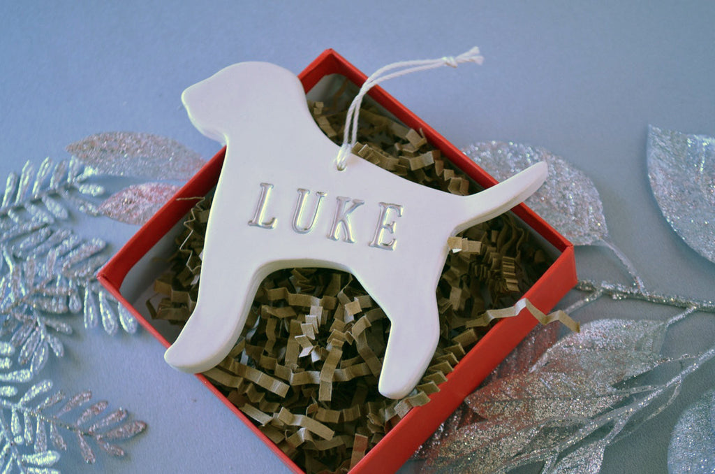 Customized Dog Christmas Ornament with Name in Different Colors- Gift Boxed