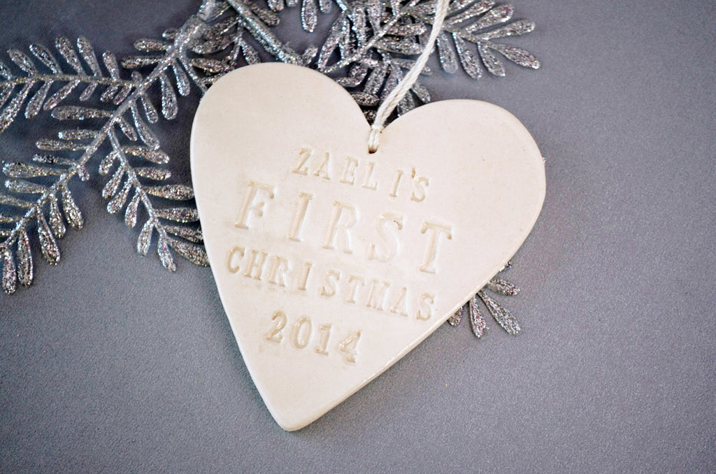 Heart Shaped Personalized Baby's First Christmas Ornament - Gift Boxed