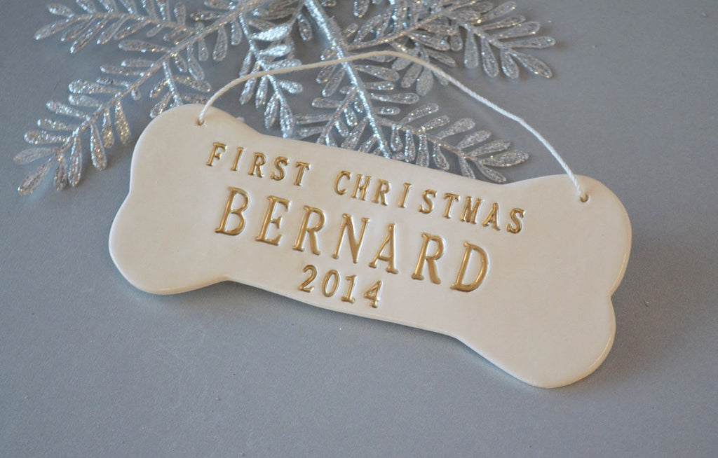Large Personalized Dog Christmas Ornament with Name in Gold - Gift Packaged