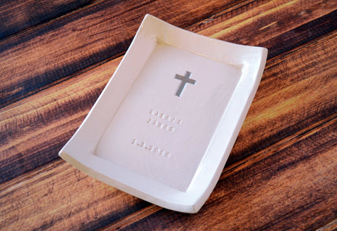 Baptism Gift,  Christening Gift, Confirmation Gift, First Communion Gift, Godchild Gift -Square Keepsake Box w/ Cross Necklace - Gift Box