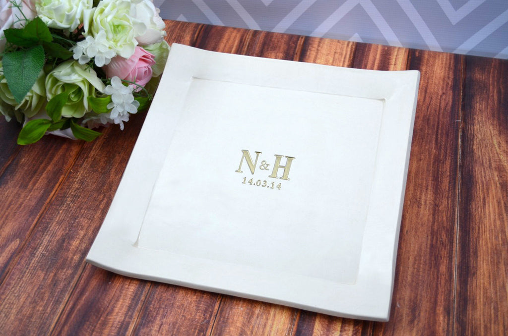 Custom Wedding Signature Guestbook Decorative Platter or Wedding Gift Personalized with Monogram