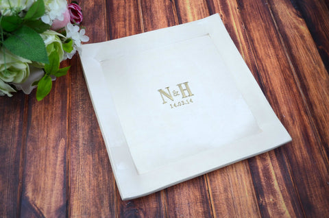 Custom Wedding Signature Guestbook Platter or Heirloom Wedding Gift - Gift boxed