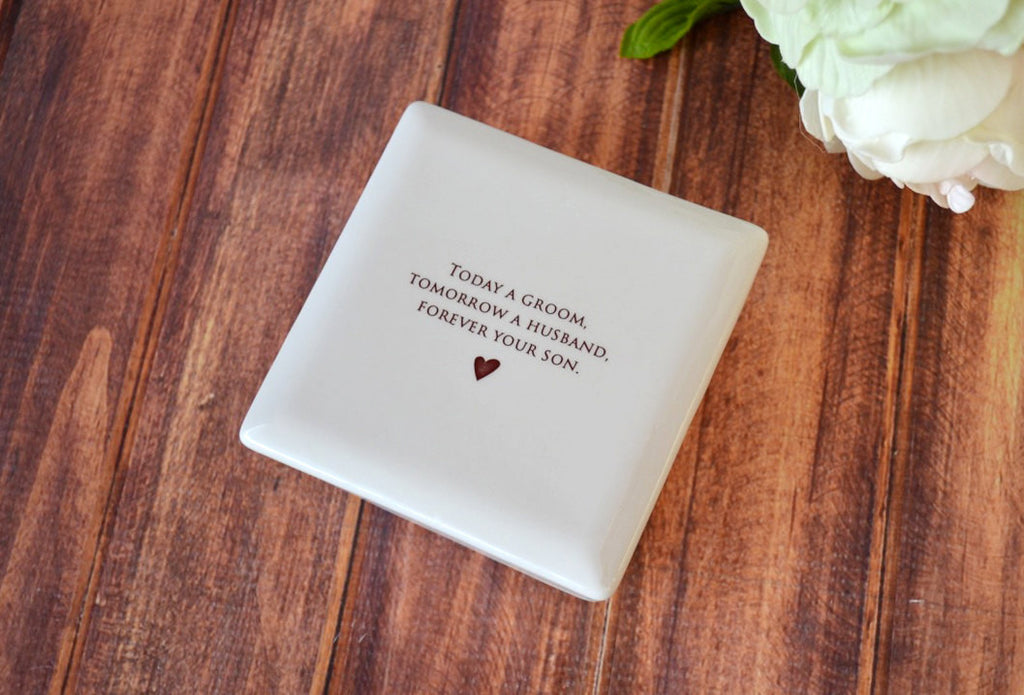 Unique Mother of the Groom Gift - Square Keepsake Box - Today a Groom, Tomorrow a Husband, Forever Your Son - With Gift Box