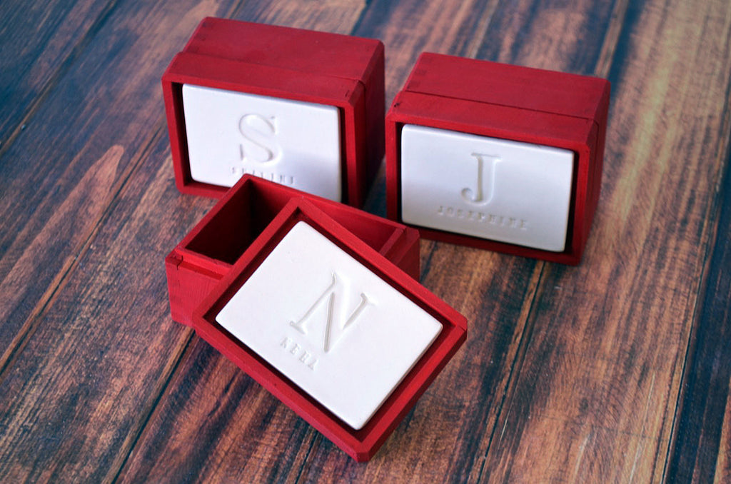 Set of 3 PERSONALIZED Bridesmaid Gifts or Hostess Gifts - Keepsake Box - Available in Red and Other Colors - Gift Packaged