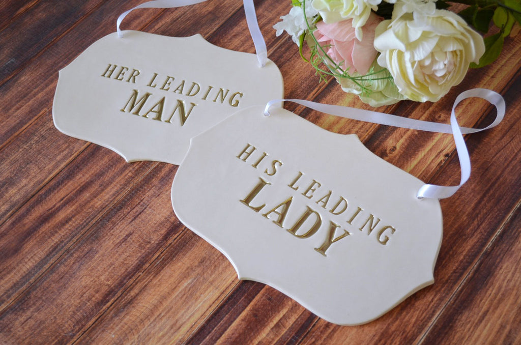"Large 'His Leading Lady' and ""Her Leading Man' Wedding Sign Set to Hang on Chair and Use as Photo Prop"