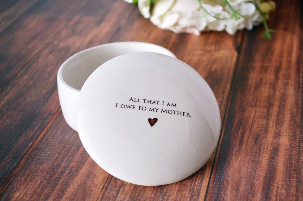 Unique Mother of the Bride Gift - Keepsake Box - Add Custom Text - All That I Am I Owe To My Mother - Gift Boxed