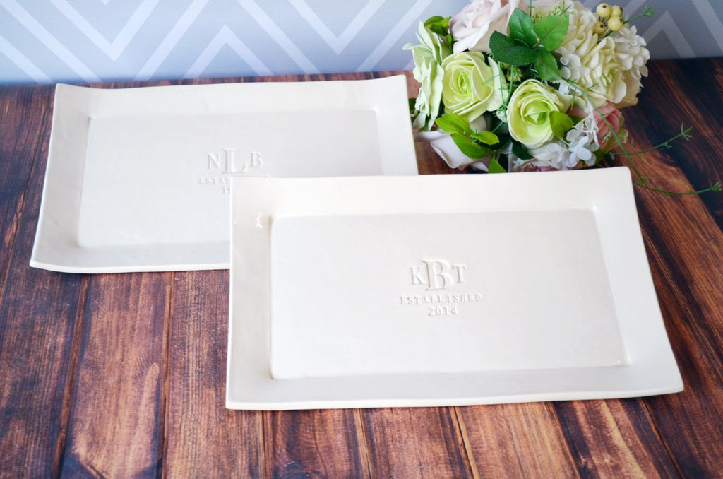 Set of Personalized Rectangular Platters - Unique Wedding Gift for Both Set of Parents - Gift boxed